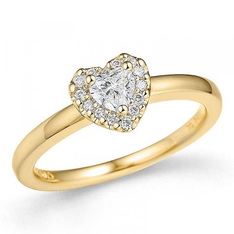 Sydän timanttisormus 14 karaatin kultaa 0,24 ct 0,08 ct