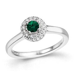 Upea smaragdi timanttisormus 14 karaatin valkokultaa 0,27 ct 0,24 ct