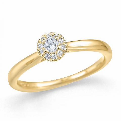 Pyöreä timantti sormus 14 karaatin kultaa 0,1 ct 0,06 ct