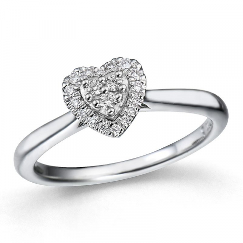 sydän timanttisormus 14 karaatin valkokultaa 0,14 ct