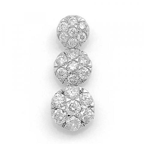 Trendikkäitä pitkä timanttiriipus 14 karaatti valkokultaa 0,37 ct