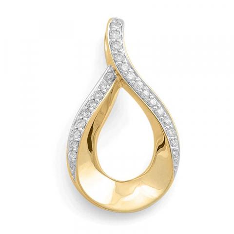 Kaunis timanttiriipus 14 karaatti kulta ja valkokultaa 0,34 ct