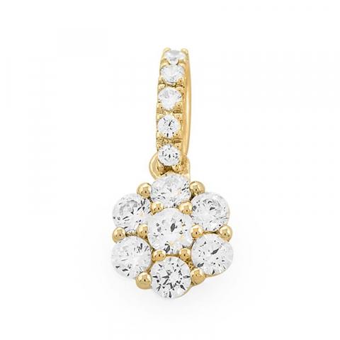 Kaunis pyöreä timanttiriipus 14 karaatti kultaa 0,48 ct