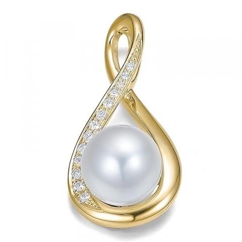 Valkoinen helmi riipus 14 karaatti kultaa 0,097 ct