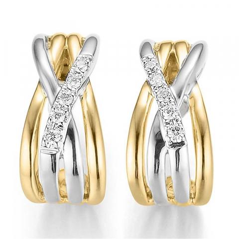upeita timantti korvarenkaat 14 karaatin kultaa ja valkokul kanssa timantti