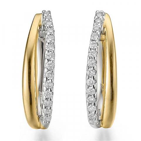 Hienot timantti korvarenkaat 14 karaatin tav valko ja punakult kanssa timanttia