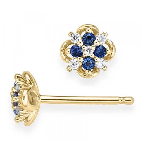 pieniä safiiri timanttikorvakorut 14 karaatin kultaa kanssa timantti ja safiiri