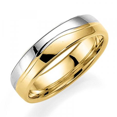 Kaksivärinen 5 mm vihkisormus 14 karaatin kultaa