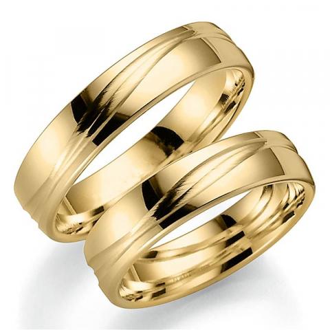 Upeita 5 mm vihkisormusta 9 karaatin kultaa - setit