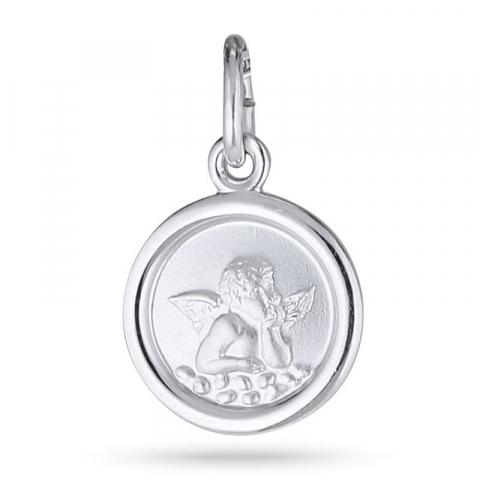Pyöreä enkeli riipus  rodinoitua hopeaa