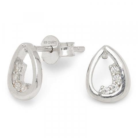 Moderneja pisara nappikorvakorut  hopeaa