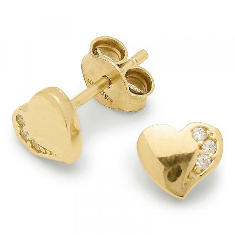 Pieniä sydän nappikorvakorut  kullattu hopea
