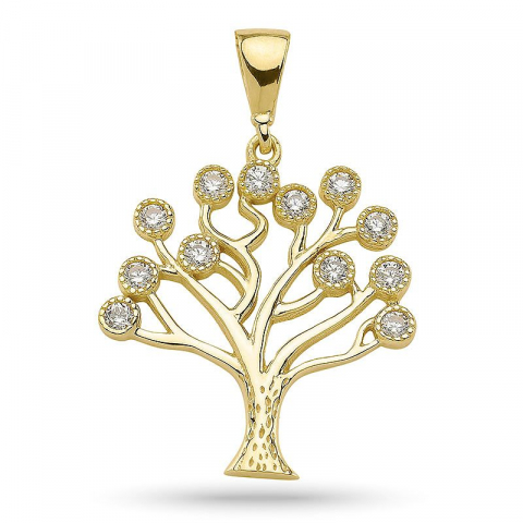 17 x 19 mm elämänpuu zirkoni riipus  kullattua hopeaa