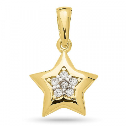 Hieno tähti zirkoni riipus  kultapäällystetty hopea