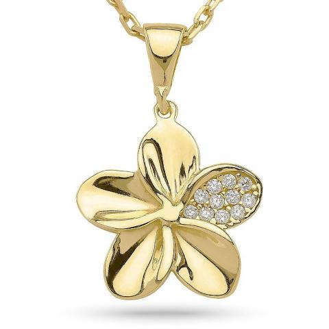 Yksinkertainen kukka riipus jossa on ketju  kultapäällystetty hopea