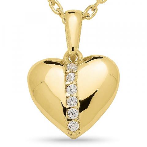 Hieno sydän zirkoni riipus jossa on ketju  kullattua hopeaa