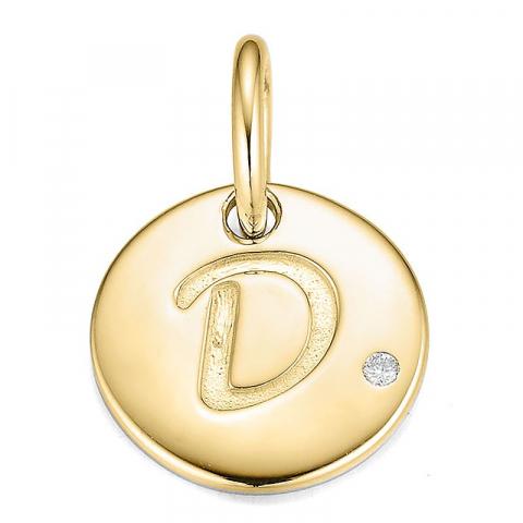 D-kirjain timantti riipus 9 karaatti kultaa 0,01 ct