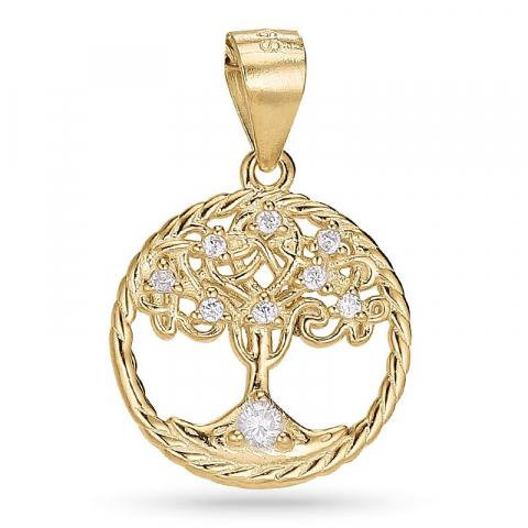 14 mm elämänpuu zirkoni riipus  kullattua hopeaa