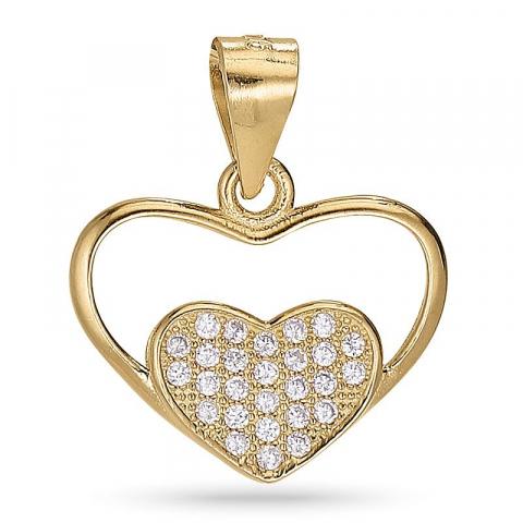 Näytepakkaukset sydän zirkoni riipus  kullattua hopeaa