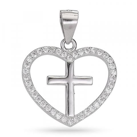Näytepakkaukset risti zirkoni sydänriipus  hopeaa