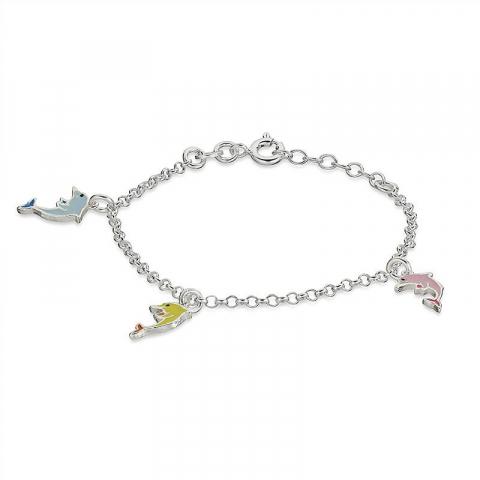 Hauska delfiini rannekoru  hopeaa