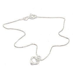 Hieno sydän nilkkaketju  hopeaa