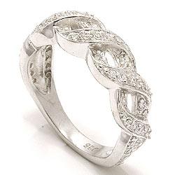 Punottu valkoinen zirkoni sormus hopeaa
