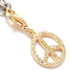 Rauhanmerkki charms riipus   kullattua hopeaa