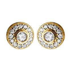 Pyöreitä timantti nappikorvakorut 14 karaatin kultaa kanssa timanttia