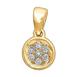 Hieno pyöreä timanttiriipus 14 karaatti kultaa 0,06 ct