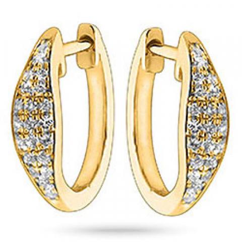 Pyöreitä timantti korvarenkaat 14 karaatin kultaa kanssa timanttia
