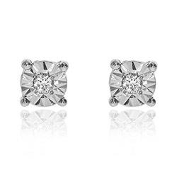 Pieniä timantti nappikorvakorut 14 karaatin valkokultaa kanssa timanttia