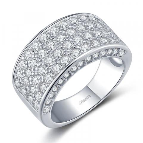 Suuri valkoinen zirkoni sormus hopeaa