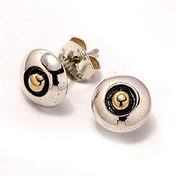 Nappikorvakorut  oksidoitua sterlinghopeaa kanssa kullattua hopeaa
