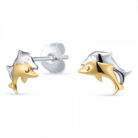 Kivoja delfiini korvarenkaat  hopeaa, jossa 8 karaattia kulta