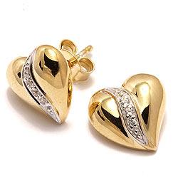 Sydän nappikorvakorut  kullattua hopeaa kanssa hopeaa