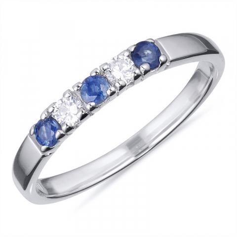 Sormuksia: sininen safiiri alianssisormus hopeaa