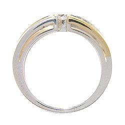 Leveä valkoinen zirkoni sormus hopeaa 8 karaatin kultaa