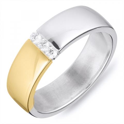 Leveä sormus hopeaa 8 karaatin kultaa