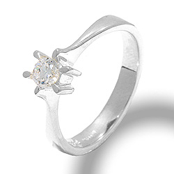 Solitaire-sormus hopeaa