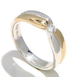 Kiiltävä sormus hopeaa 8 karaatin kultaa