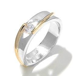 Upea sormus hopeaa 8 karaatin kultaa