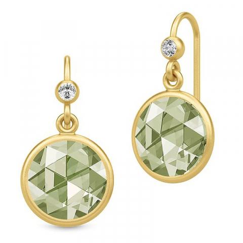 Pitkä julie sandlau pyöreä korvarenkaat  kullattua hopeaa vihreää spinelli kivi valkoista zirkonia