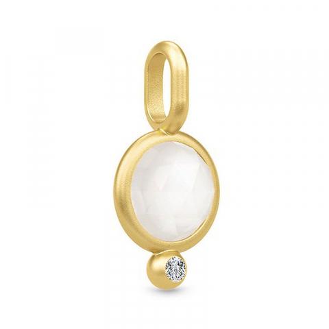kivoja Julie Sandlau riipus  hopeaa, jossa 22 karaatin kultaus valkoinen kuukivi valkoinen zirkoni