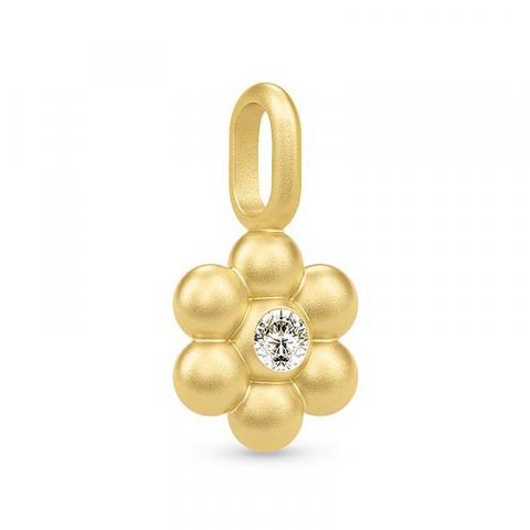 Julie Sandlau kukka riipus  hopeaa, jossa 22 karaatin kultaus valkoinen zirkoni