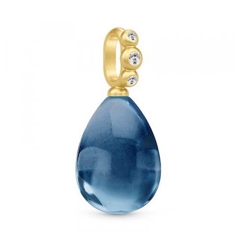 Julie Sandlau pisara riipus  hopeaa, jossa 22 karaatin kultaus sininen kristalli valkoinen zirkoni